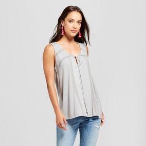 NWT Women's Lace Trim Knit Tank - Knox Rose™ Gray